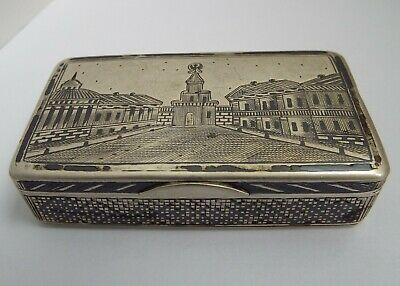 Beautiful Decorative Antique Russian 1873 Moscow Solid Silver & Niello Snuff Box
