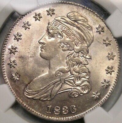 1836/1336 CAP BUST SILVER HALF DOLLAR VERY RARE OVERDATE OVERTON#108a NGC MS 62