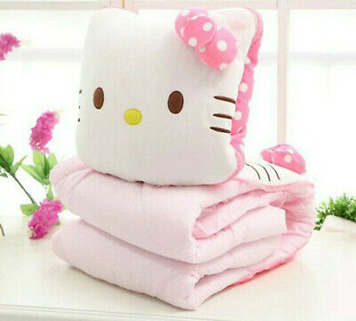 Girls Hello Kitty 2in1 Plush Pillow Quilt With Bow Comfort Cotton Pillow Quilt