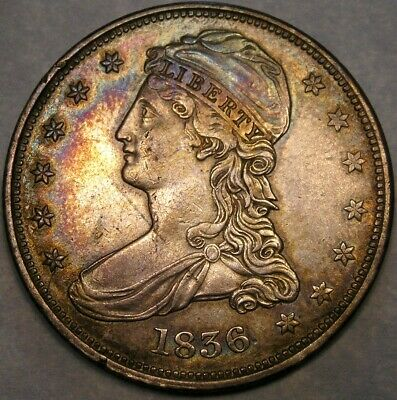 1836 Capped Bust Reeded Edge Half Dollar Gorgeous Rare Key Date & 1836 Pcgs Vf25