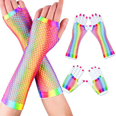 1 Pair of Colorful Retro Women Stretchy Fishnet Fingerless Gloves Party Gift