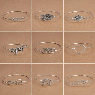 Fashion Tibetan Silver Infinity Owl Bangle Cuff Bracelets Women Charm Jewelry