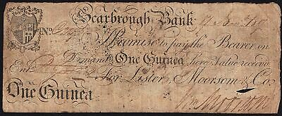 1817 Scarbrough Bank 1 Guinea Banknote * VG * Outing 1895 *
