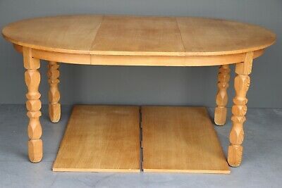 Signed vintage Gothic antique extension dining table carved legs 3 leaves Danish