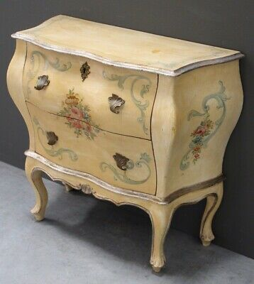 Antique Italian hand painted provincial chest of 2 drawers bedside rococo carved