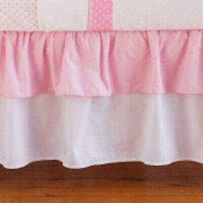 Bed skirt for cot freckle girl pink and white