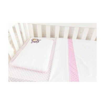 3 piece cot set pillow case fitted sheet flat sheet freckle girl pink white