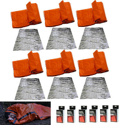 6Pc Sleeping Bag Emergency Survival Outdoor Thermal Blanket Gear Kit Hiking Sack
