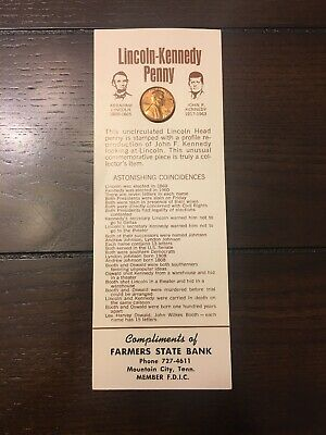 1973 Lincoln Kennedy Etched Penny with Facts Coinicidence Sheet