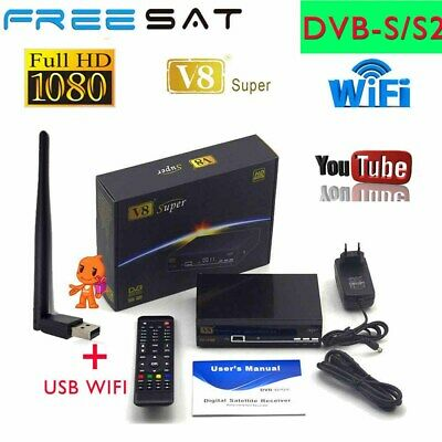 Freesat V8 Super DVB-S2 FTA Satellite Receiver +USB WIFI Full HD 1080P Receptor
