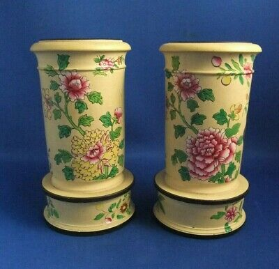 Antique Early 19Thc Rare Pair Of Spode Caneware Vases C1819- Chinese Decoration