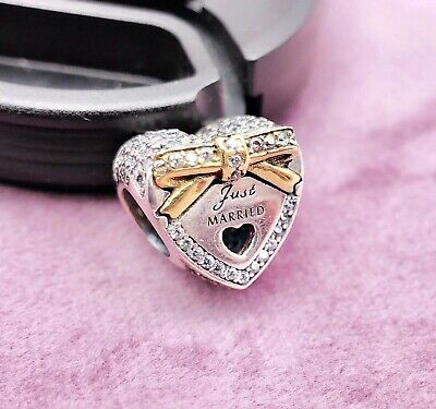 Authentic Pandora silver 925 ALE Charm 14K Gold Wedding Day, Just Married 792083