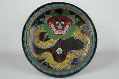 Fine Antique Chinese Cloisonne Dragon Bowl - with mark