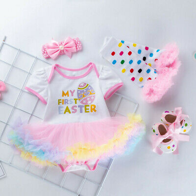 My First Easter Newborn Baby Girl Egg Rabbit Romper Tutu Dress Party Outfits 4pc