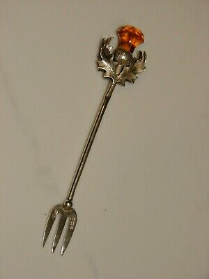 English Sterling Silver 1908 Pickle Fork Glass Topped Scottish Thistle Handle