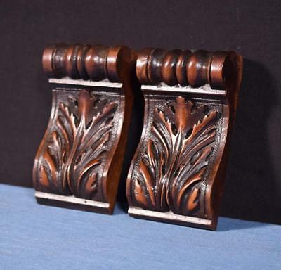 """*Pair of 5"""" French Antique Corbels/Pillars/Brackets in Walnut Wood Salvage"""