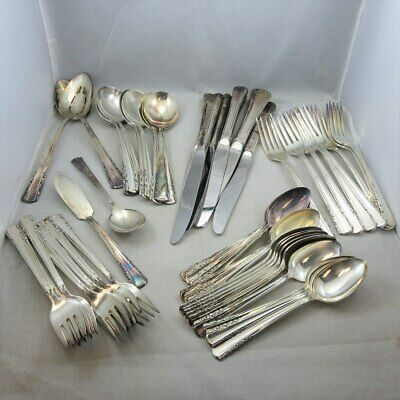 Vintage Holmes & Edwards Silver Plated Flatware Set or Craft Lot May Queen 52 Pc