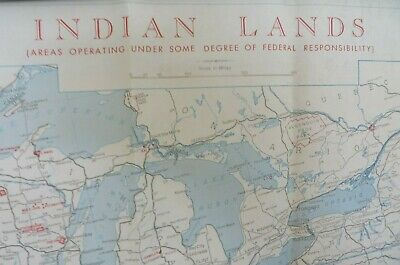 Vintage 1965 Indian Land Areas Map Us Bureau Of Indian Affairs 9719 - Map-of-indian-lands-in-the-us