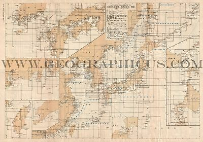 1940 Or Showa 15 Index Map Of The Sea Charts Of Imperial Japan