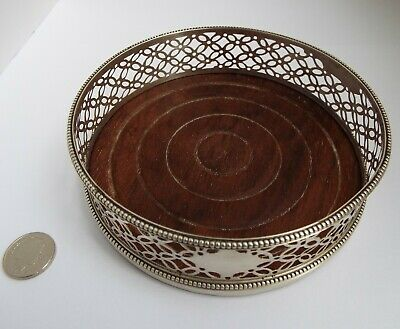 Superb Rare English Antique 18Th Century 1785 Solid Sterling Silver Wine Coaster