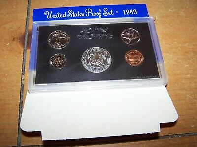 1969 US Mint 5 Coin Proof Set with 40% Silver Kennedy Half as Issued
