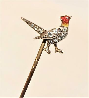 Antique Hunting Shooting Game Bird Sterling Silver Tie Stock Stick Pin Brooch !!