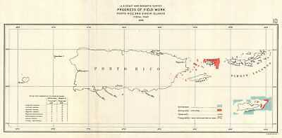 1926 U.S. Coast Survey Map of Puerto Rico w/ Virgin Islands