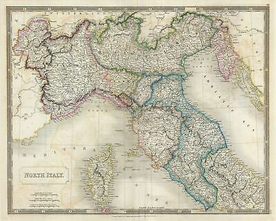 1835 Hall Map of Northern Italy : Tuscany, Piedmont, Milan, Venice
