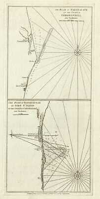 1794 Laurie and Whittle Nautical Chart or Map of the Coast of Coromandel, India