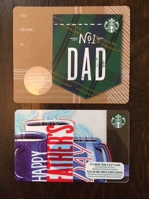 "Canada Series Starbucks ""FATHERS DAY SET 2018"" Lot of 2 Gift Cards -New No Value"
