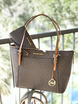 d0f952a21f Michael Kors Ciara Jet Set Lg Ew Tote Bag Brown acorn+Continental Wallet
