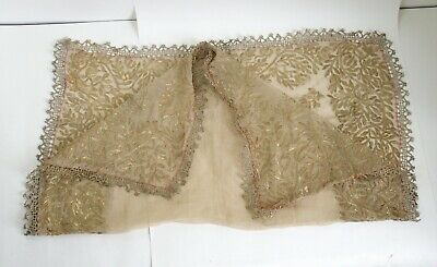 Two antique Ottoman gold thread embroidery textiles Turkish / Persian #2