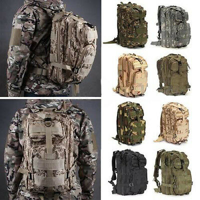 Camo Hiking Camping Bag Army Military Tactical Trekking Rucksack Backpack 35L
