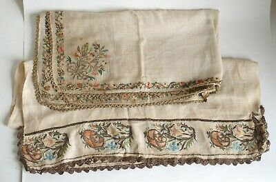 Two antique Ottoman silver gold thread embroidery textiles Turkish / Persian #5