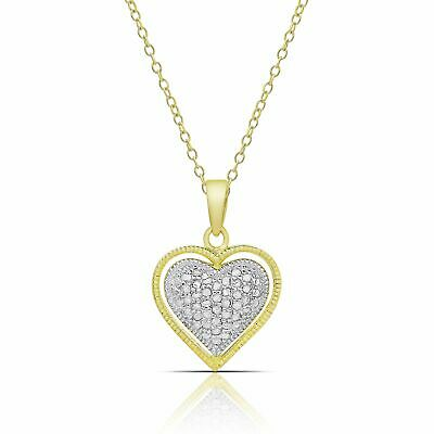 Finesque Gold over Sterling Silver 1/4ct TW Diamond Heart Necklace (I-J, I2-I3)
