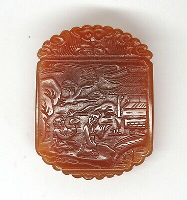 Fine rare antique 19th century Chinese carved agate pendant
