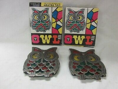 Vintage PAIR Cast Iron Owl Trivet Tiffany Like Stain Glass Green Yellow Retro