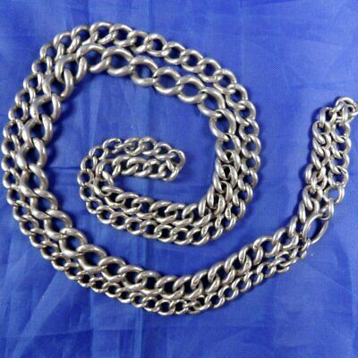 Stunning Very Long Antique Silver Watch Chain Necklace