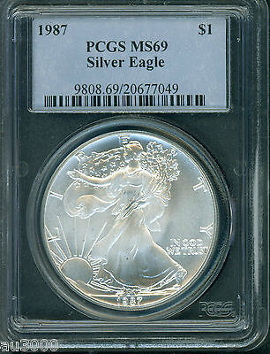 1987 American Silver Eagle ASE S$1 PCGS MS69 MS-69 !