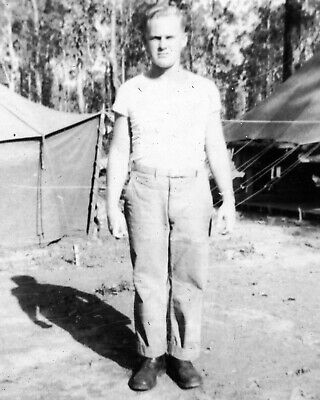 ORIGINAL VINTAGE PHOTO: Military Man Male Men Tents Army 40's 40s WW2 WWII