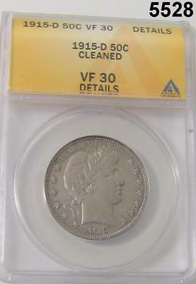 1915 D Barber Half Dollar Anacs Certified Vf30 Details Cleaned #5528