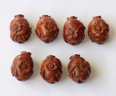 7 Antique Chinese Qing Buddhist Hediao Carved Nut Beads, Poppy Seed Heads Rare