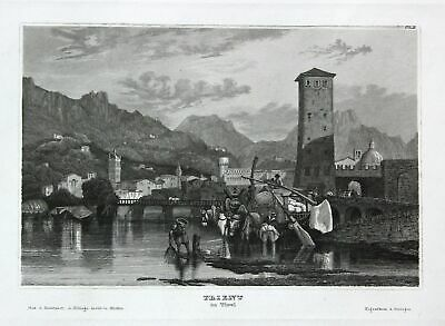 1850 Tirol Tyrol Trient Italy Italia Italien Ansicht view Stahlstich engraving