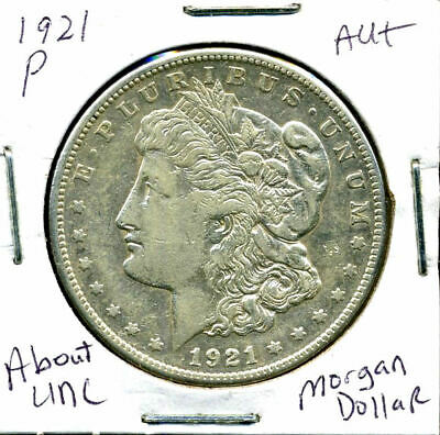 1921 P AU Morgan Dollar 100 Cent  About Uncirculated 90% Silver US $1 Coin #1208