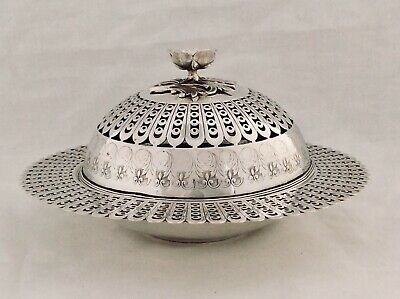 Beautiful Antique Victorian Fret Work Silver Plated Domed Butter/Caviar Dish