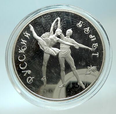 1994 RUSSIA Russian Ballet Dancers Genuine Proof Silver 3 Rouble Coin i76608