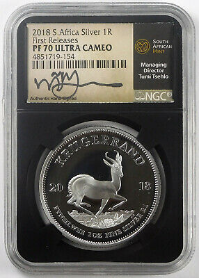 2018 South Africa 1 Oz .999 Silver Krugerrand- NGC PF 70 Ultra Cameo- Signed