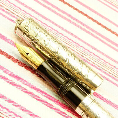 Vintage WATERMAN'S IDEAL Sterling Silver Hand-Engraved Vine Overlay Fountain Pen