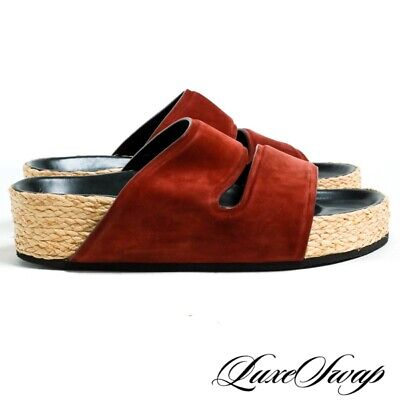abf3088cc3d LNWOB Celine Made in Italy Wine Suede Roped Sole Double Strap Platform Shoes  37