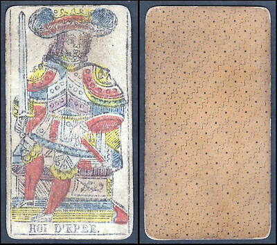 Original 18th century playing card carte a jouer Spielkarte Tarot Roi d'Epee